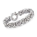 Stainless Steel Thick Cut Fish-Hook Byzantine Bracelet