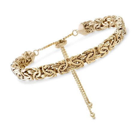Stainless Steel Byzantine Chain Bracelet + Pull Closure Bracelet // 14K Gold Plating