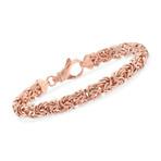 Stainless Classic Byzantine Bracelet // 14K Rose Gold Plating