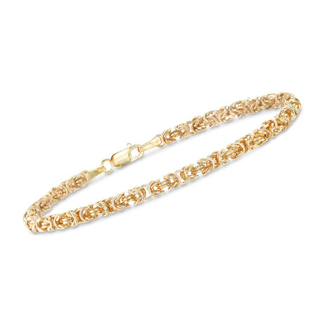 Stainless Steel Sleek Byzantine Bracelet // 14K Gold Plating