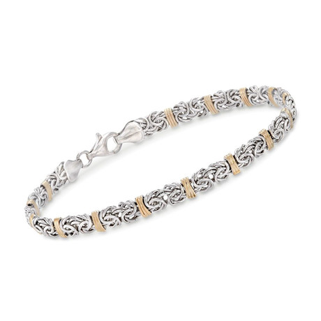 Two-Tone Byzantine + Bicycle Stainless Steel Bracelet