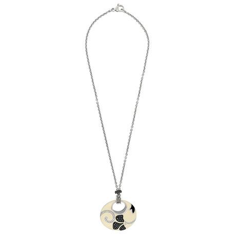 Nouvelle Bague 18k White Gold Tan + Black Enamel Diamond Necklace