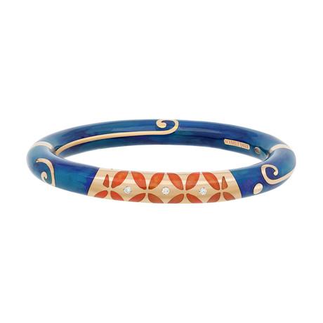 Nouvelle Bague 18k Rose Gold Orange + Blue Enamel Diamond Bangle Bracelet
