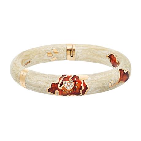 Nouvelle Bague 18k Rose Gold Tan + Orange Enamel Diamond Bangle Bracelet