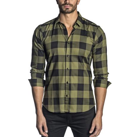 Long Sleeve Shirt // Olive + Black Plaid (S)