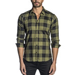 Long Sleeve Shirt // Olive + Black Plaid (M)