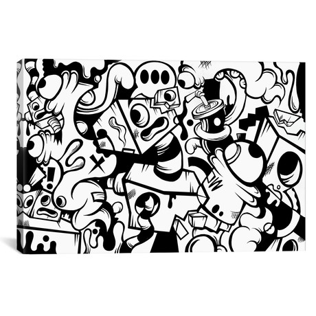 "Dot Dot Dot In Black And White // Kelo (26""W x 18""H x 0.75""D)"