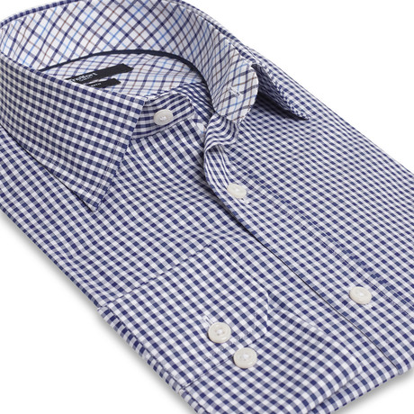 Slim Fit Fashion Check Shirt // Navy + White (2XL)