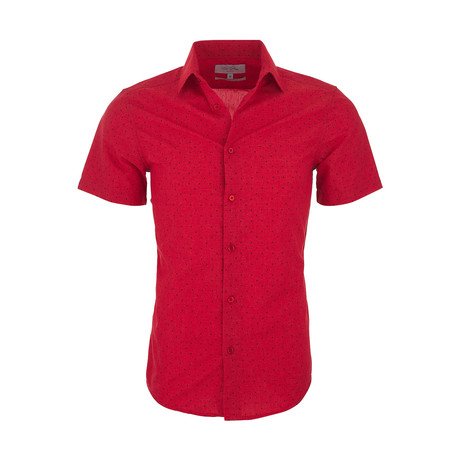 Ricardo Casual Short Sleeve Button Down Shirt // Red (XS)