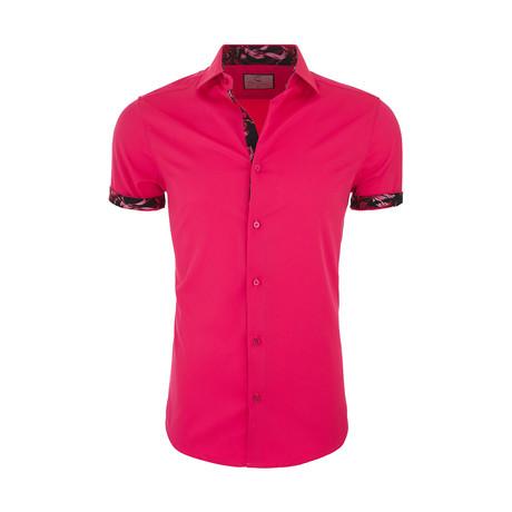 Milan Casual Short Sleeve Button Down Shirt // Pink (XS)