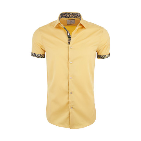 Marcellus Casual Short Sleeve Button Down Shirt // Yellow (XS)