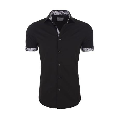 Trey Casual Short Sleeve Button Down Shirt // Black (XS)