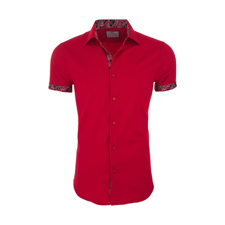 Lyman Casual Short Sleeve Button Down Shirt // Red (XS)