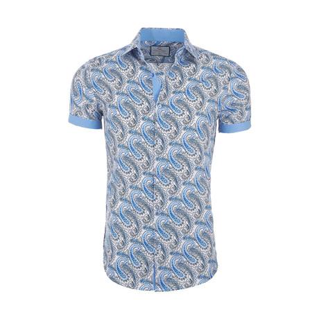 Bernardo Casual Short Sleeve Button Down Shirt // Blue (XS)
