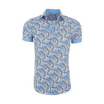 Bernardo Casual Short Sleeve Button Down Shirt // Blue (M)