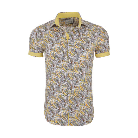 Pete Casual Short Sleeve Button Down Shirt // Yellow (XS)