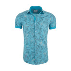 William Casual Short Sleeve Button Down Shirt // Blue (2XL)