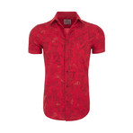 Sidney Casual Short Sleeve Button Down Shirt // Red (XS)