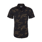 Larry Casual Short Sleeve Button Down Shirt // Black (XS)