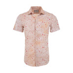 Joshua Casual Short Sleeve Button Down Shirt // Beige (3XL)