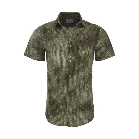 Sanford Casual Short Sleeve Button Down Shirt // Green (XS)