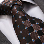 Squares Silk Tie // Black + Brown + Blue