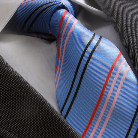 Elliott Striped Silk Tie // Blue + Red + Black + Pink