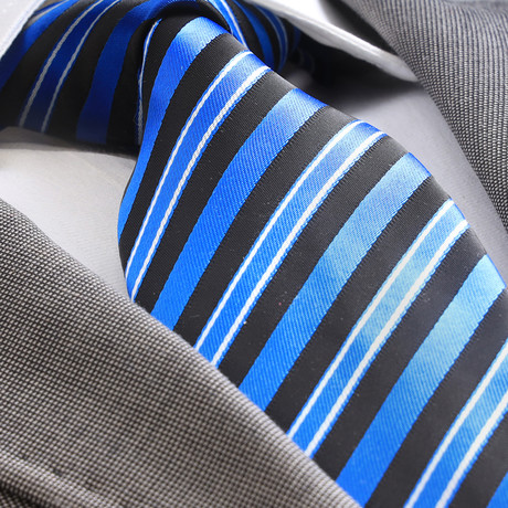 Bayaz Striped Silk Tie // Metallic Blue + Black