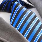 Bayaz Striped Silk Tie // Metallic Blue + Black
