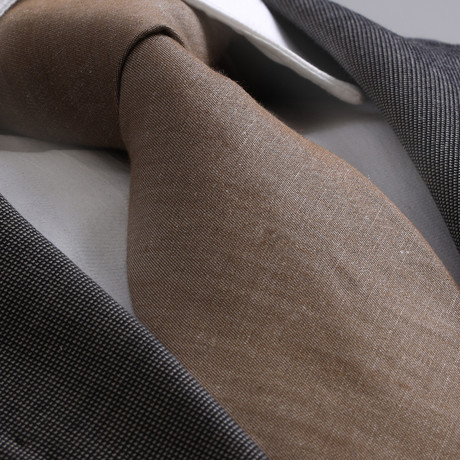 Amedeo Exclusive // Silk Tie // Brown + White