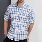 G649 Button-Up Shirt // White + Blue (S)