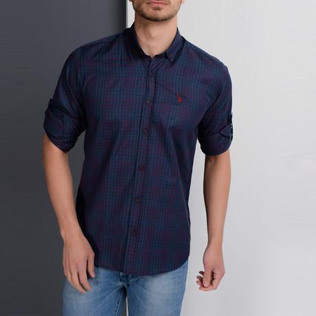 Gavin Button-Up Shirt // Dark Blue + Burgundy (Small)