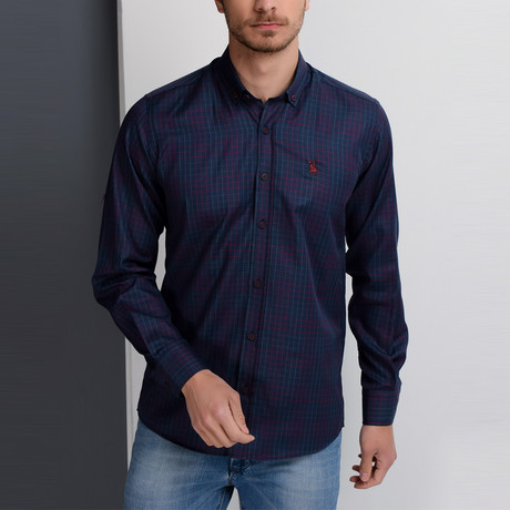 G650 Button-Up Shirt // Dark Blue + Burgundy (S)