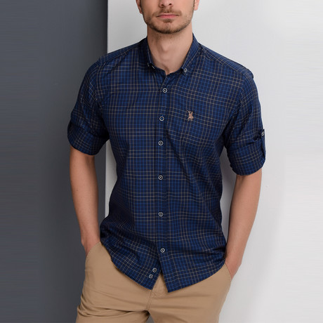 Gavin Button-Up Shirt // Dark Blue + Sax (X-Large)