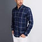Pharrell Button-Up Shirt // Dark Blue + Brown (Large)