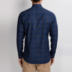 Gavin Button-Up Shirt // Dark Blue + Sax (Small)