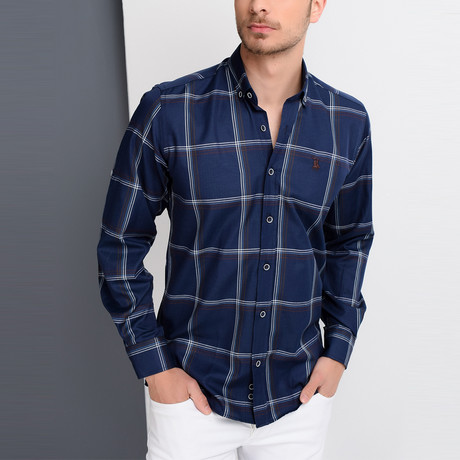 G654 Button-Up Shirt // Dark Blue + Brown (S)