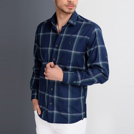 G654 Button-Up Shirt // Dark Blue + Green (S)