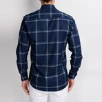 G654 Button-Up Shirt // Dark Blue + Green (S)