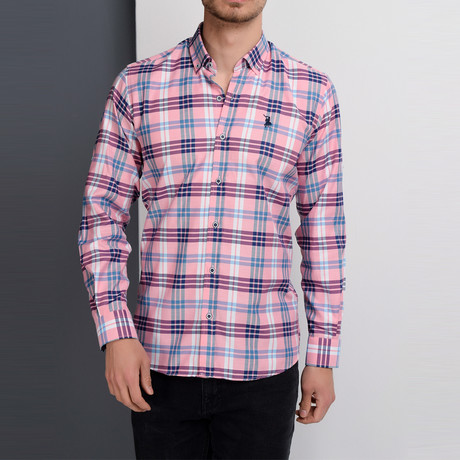 G663 Plaid Button-Up Shirt // Pink (S)