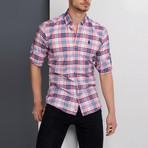 G663 Plaid Button-Up Shirt // Pink (S)