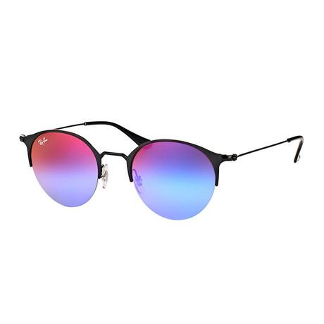 Unisex Round Sunglasses // Black Matte + Blue Violet