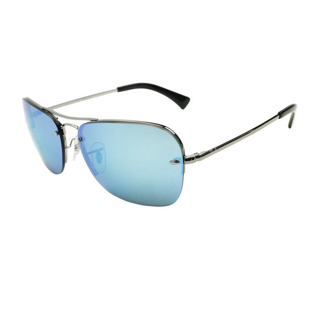 Unisex Aviator Sunglasses // Silver + Blue