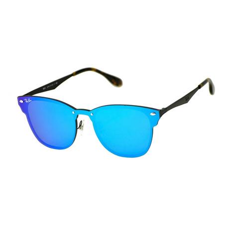 Unisex Square Blaze Sunglasses // Black Matte + Violet Blue