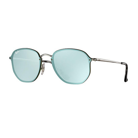 Women's Hexagonal Sunglasses // Silver + Green