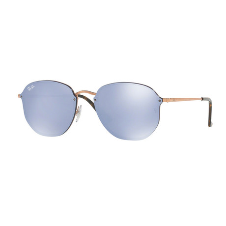 Women's Hexagonal Sunglasses // Copper + Violet Blue