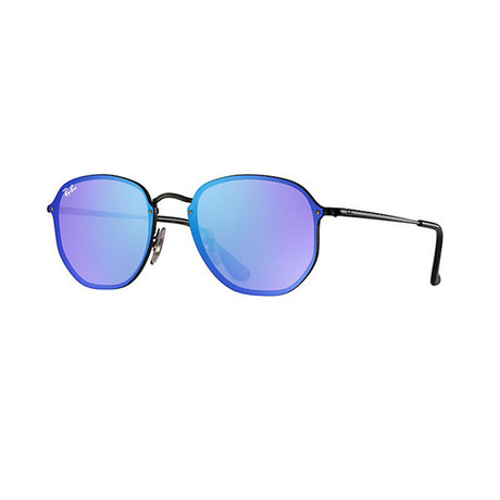 Women's Hexagonal Sunglasses // Black + Violet Blue