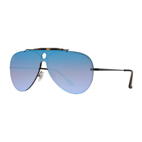 Ray-Ban // Men's Shield Sunglasses // Black + Violet Blue