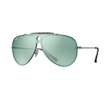 Men's Shield Sunglasses // Silver + Green