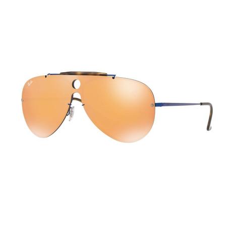 Men's Shield Sunglasses // Blue + Orange
